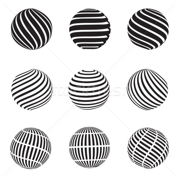 Résumé tourbillons sphère pointillé grill sphères Photo stock © robuart