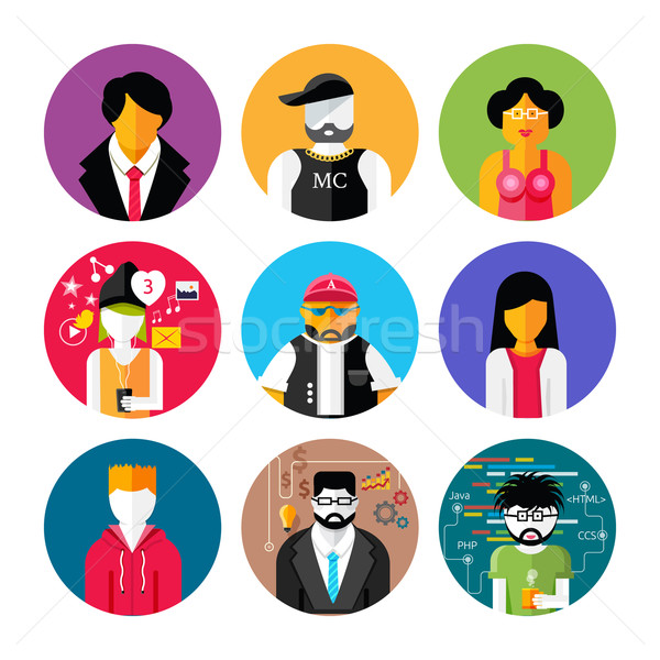 Set of stylish avatars of man and woman icons Stock photo © robuart