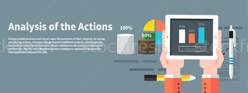 Analysis actions. Concept of businessman using mobile phone Stock photo © robuart
