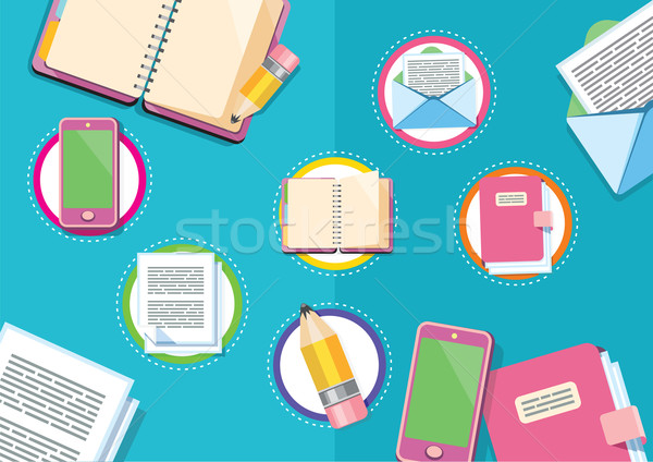 Business workplace with digital tablet smartphone papers Stock photo © robuart