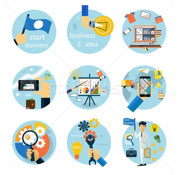 Icons set for business, e-shopping, logistics Stock photo © robuart