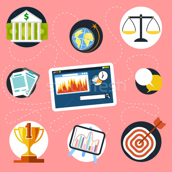 Stock fotó: Digitális · tabletta · pénzügy · elemzés · ikonok · marketing