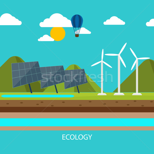 Renewable energy like hydro, solar and wind power Stock photo © robuart