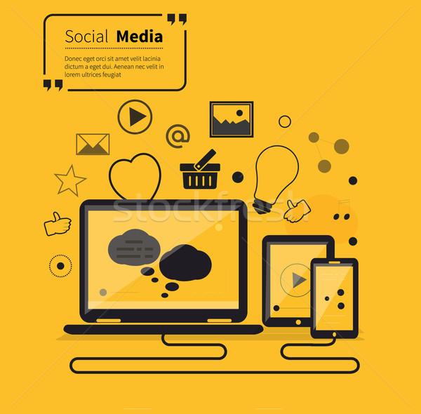 Social Networks Media Online Flat Style Stock photo © robuart