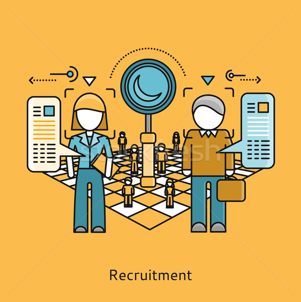 Recruitment Icon Flat Design Concept Stock photo © robuart