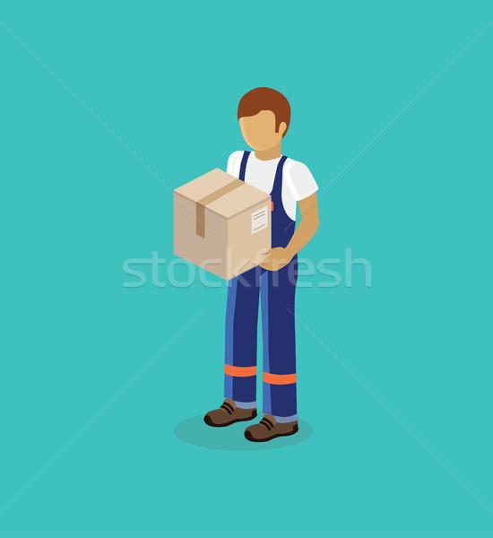 Férfi házhozszállítás doboz izolált terv izometrikus Stock fotó © robuart