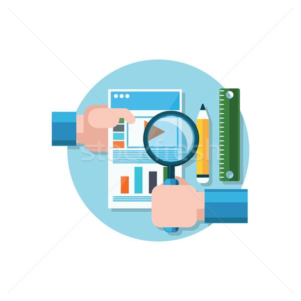 видео поощрения икона дизайна увеличительное стекло стороны Сток-фото © robuart
