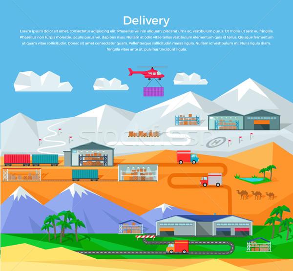 Világszerte raktár terv logisztika konténer szállítás Stock fotó © robuart