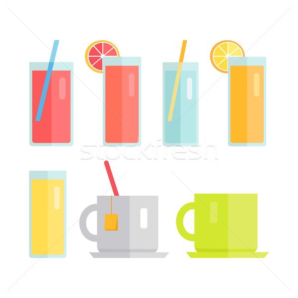 Stockfoto: Ingesteld · bril · dranken · vector · collectie