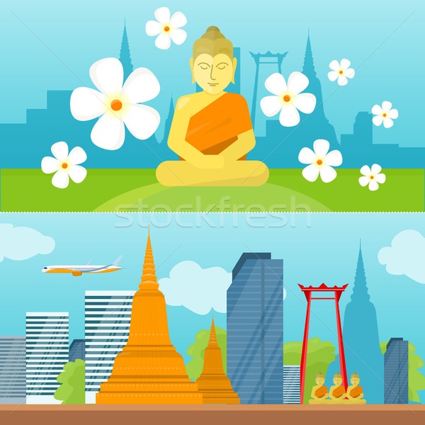 Establecer Tailandia viaje anunciante turismo diseno Foto stock © robuart