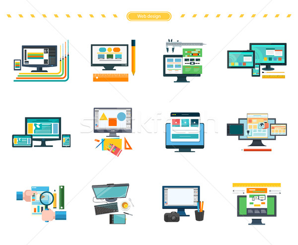 Set of Web Design Vector Concepts in Flat Style. Stock photo © robuart