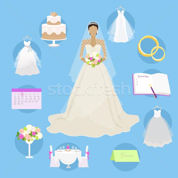 свадьба Элементы Кнопки брак моде невеста Сток-фото © robuart
