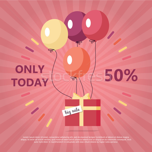 Gift Box with Text Big Sale Flying on Balloon Stock photo © robuart