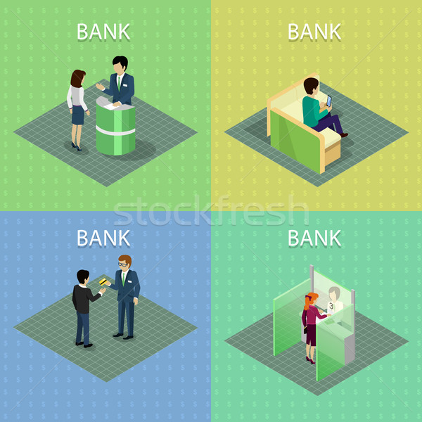 Set of Bank Concepts in Isometric Projection. Stock photo © robuart