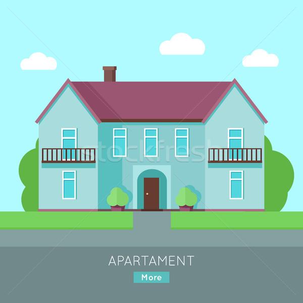 現代 アパート 青 家 紫色 屋根 ストックフォト © robuart
