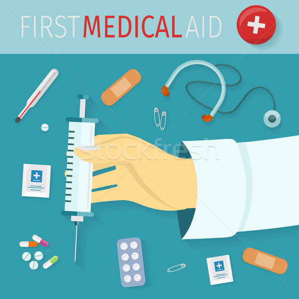 First Medical Aid Set of Icons. Health Equipment Stock photo © robuart
