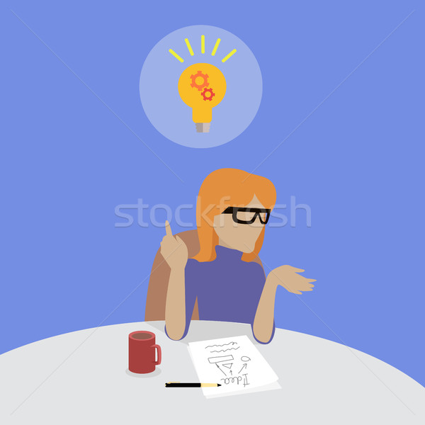 Woman Sitting Thinking About Solution of Problem. Stock photo © robuart
