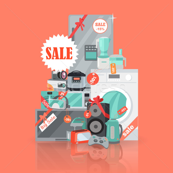 Big Super Web Sale Banner. Household Appliances Stock photo © robuart