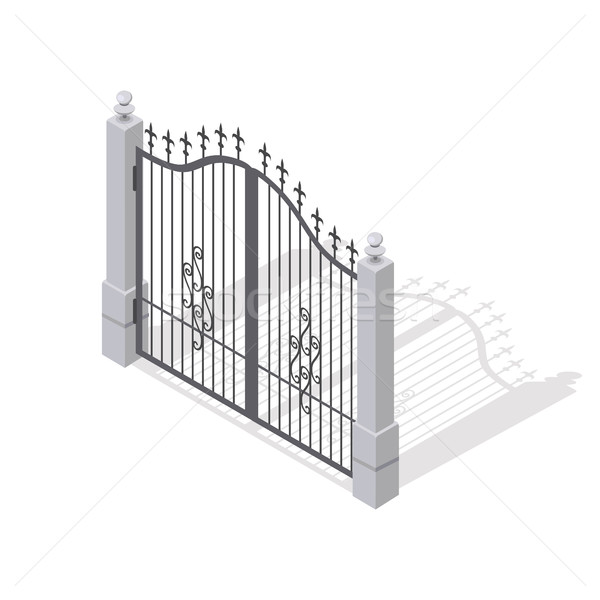 Iron Gate Opens and Closes from Middle Isolated Stock photo © robuart