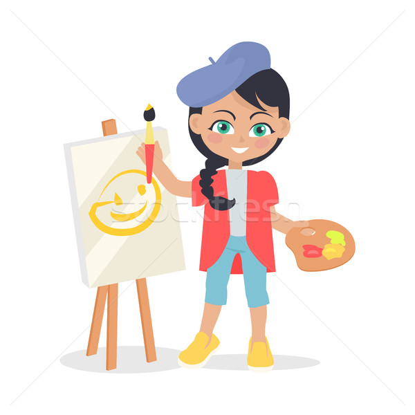 Girl Draws on Easel Isolated in Flat Style Design Stock photo © robuart