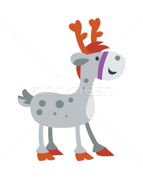 Little Toy Horse Isolated on White. Cute Deer Stock photo © robuart