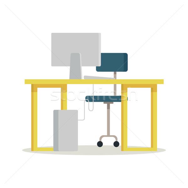 месте компьютер стиль фотография Председатель таблице Сток-фото © robuart