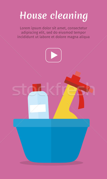 Basin with Washing Cleaners. Glass Clean Substance Stock photo © robuart