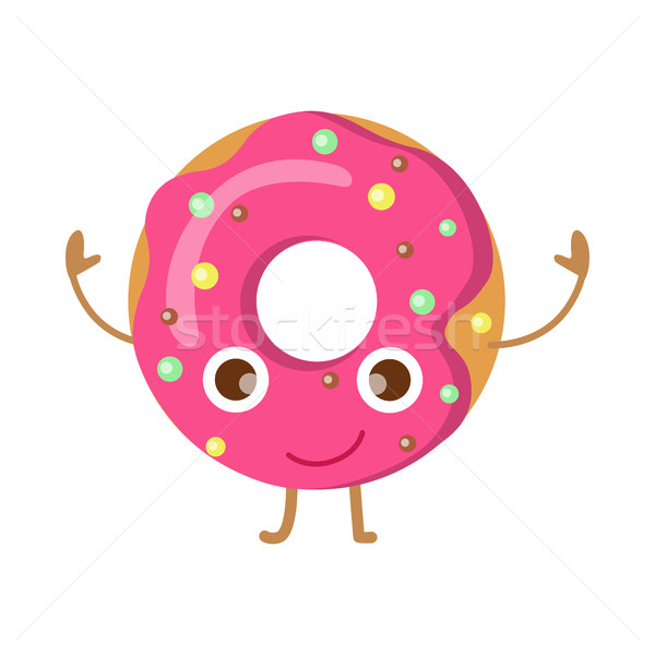 Doughnut with Pink Sprinkles Funny Happy Character Stock photo © robuart