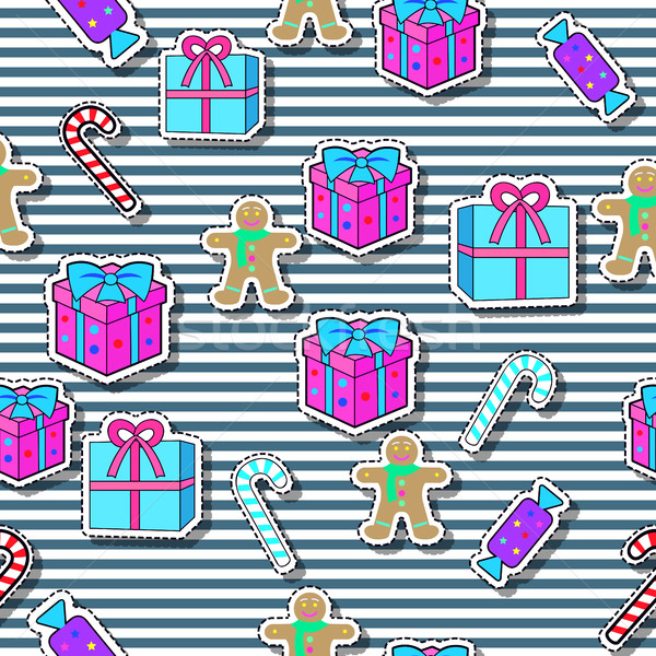 Gift Boxes, Candy Sticks, Gingerbread Boy Seamless Stock photo © robuart