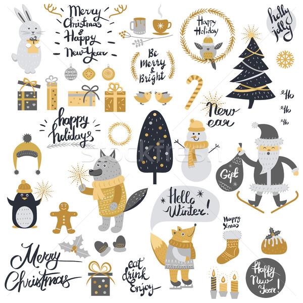Noel ayarlamak karikatür yılbaşı toplama Stok fotoğraf © robuart