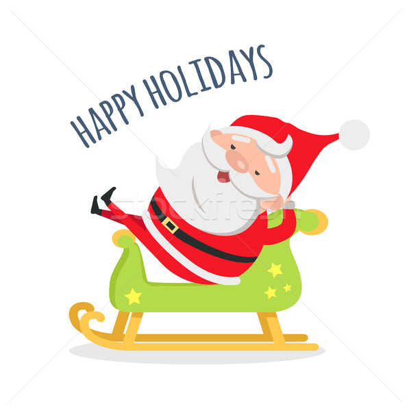 Santa Relax by Riding Wooden Green Sleigh Holidays Stock photo © robuart