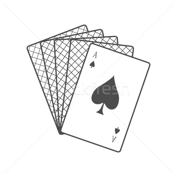 Kártyapakli terv vektor monokróm fekete szín Stock fotó © robuart