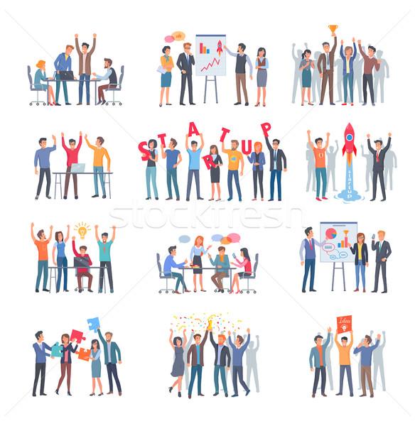 Ingesteld geslaagd startup groep mensen witte twaalf Stockfoto © robuart