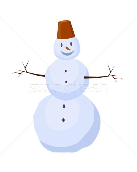 Aislado muñeco de nieve cubo cabeza invierno zanahoria Foto stock © robuart