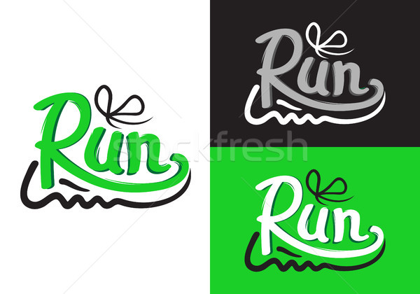 Running Shoe Symbols on Different Background. Stock photo © robuart