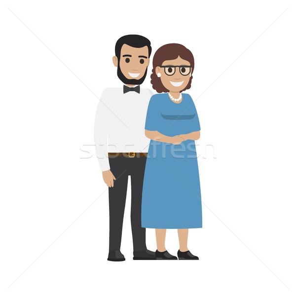 Házas középkorú pár átlagos család vektor Stock fotó © robuart