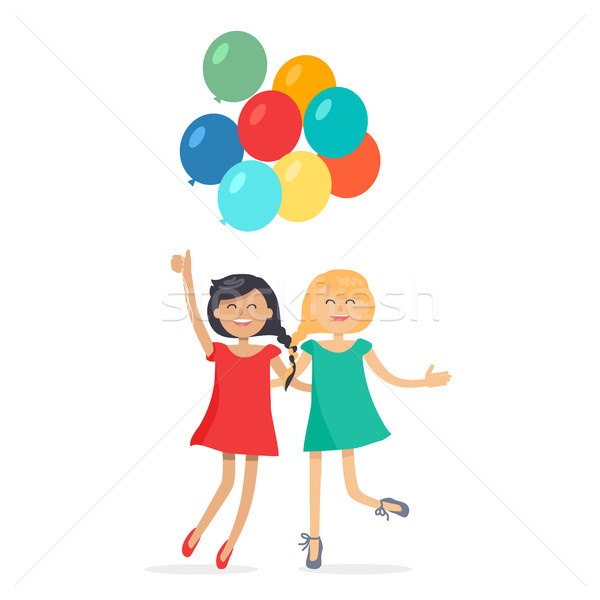 Happy Girls with Colorful Balloons Friends Forever Stock photo © robuart