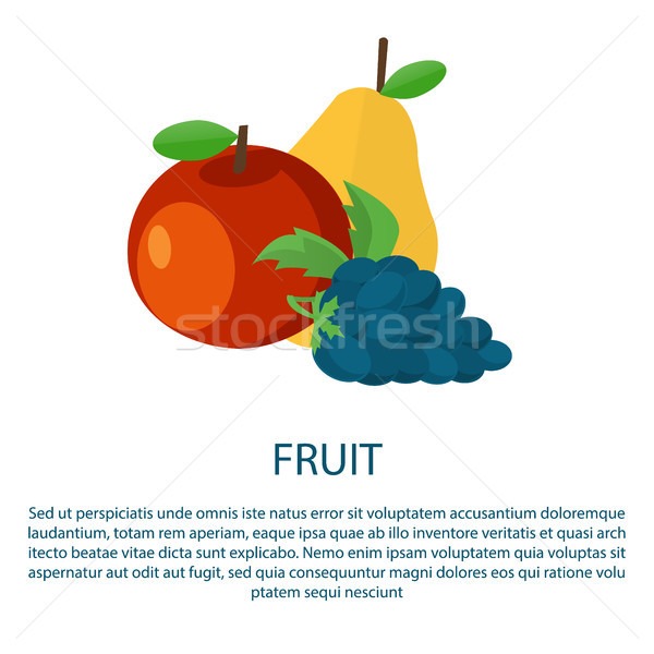 Fruit Poster with Ripe Apple Yellow Pear and Grape Stock photo © robuart