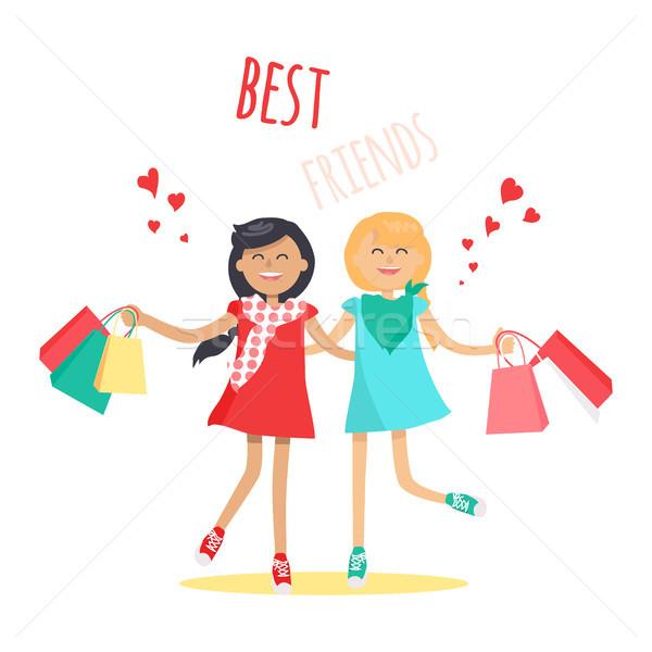 Shopping meilleur ami vecteur deux fille Photo stock © robuart