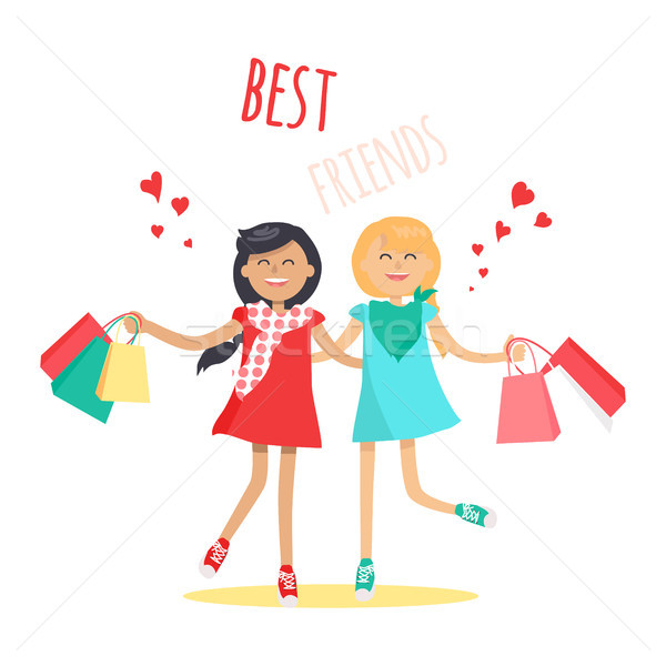 Compras mejor amigo vector dos alegre nina Foto stock © robuart