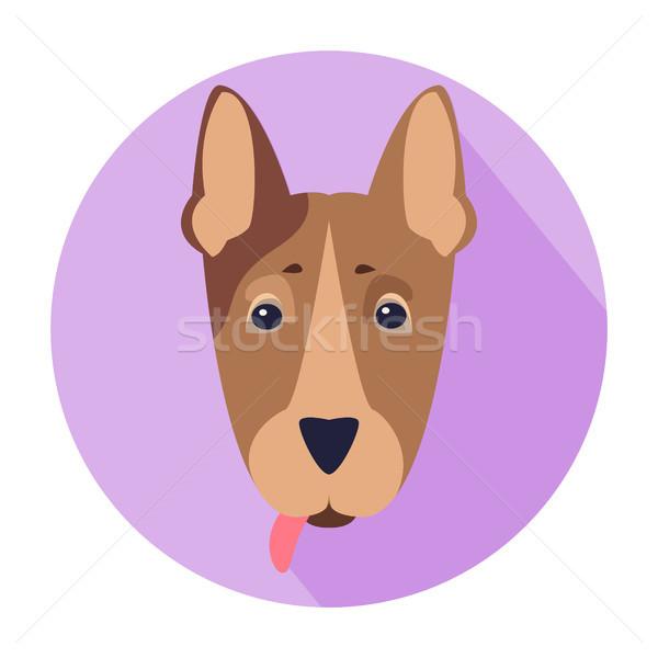 Cute Dog Muzzle Cartoon Flat Vector Icon Stock photo © robuart