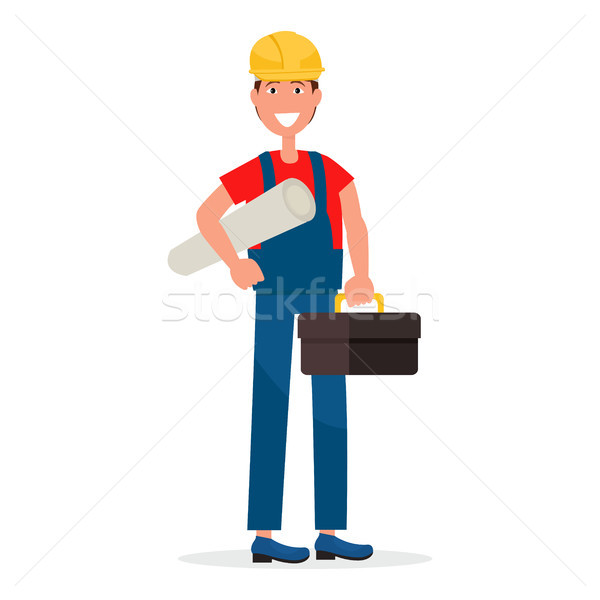 Builder in Hardhat and with Toolbox Illustration Stock photo © robuart