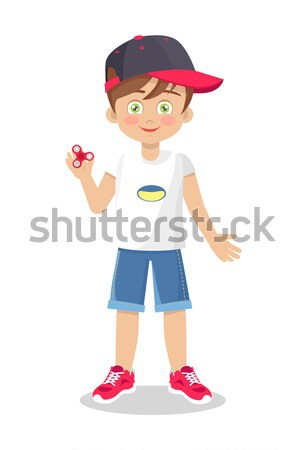 Vector Template of Little Boy with Football Ball Stock photo © robuart