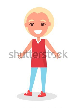 Smiling Blonde Boy in T-shirt and Trousers Vector Stock photo © robuart