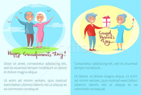 счастливым дедушка и бабушка день плакатов старший пары Сток-фото © robuart