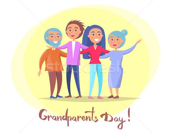 дедушка и бабушка день плакат детей плакатов Сток-фото © robuart