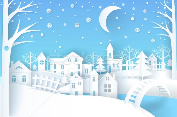 Winter Landscape Vector Illustration Blue White Stock photo © robuart