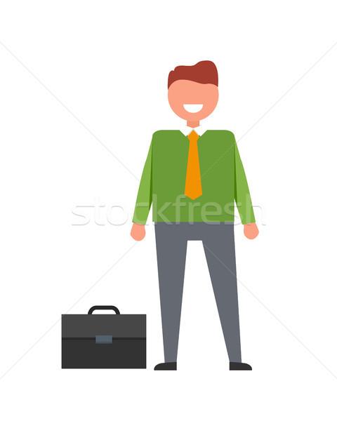 Wesoły biznesmen teczki ilustracja pomarańczowy tie Zdjęcia stock © robuart