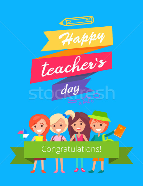 Happy Teachers Day Promo Vector Illustration Stock photo © robuart