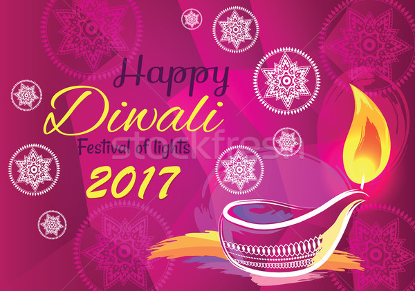 Stock photo: Happy Diwali Festival of Lights 2017 Banner Vector